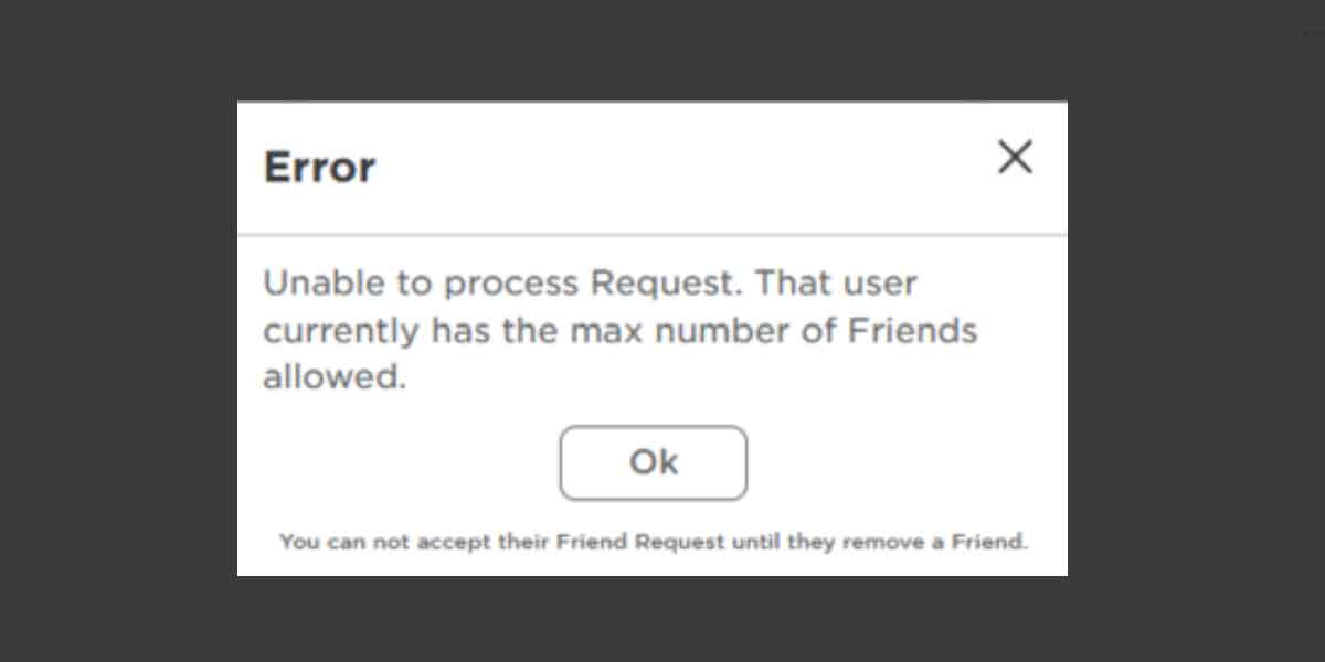 Maximum Friends Error