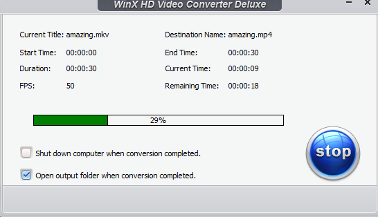 videos being converted using WinX HD Video Converter Deluxe
