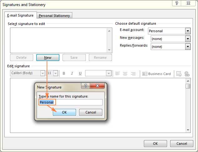 Default Signature in The Outlook
