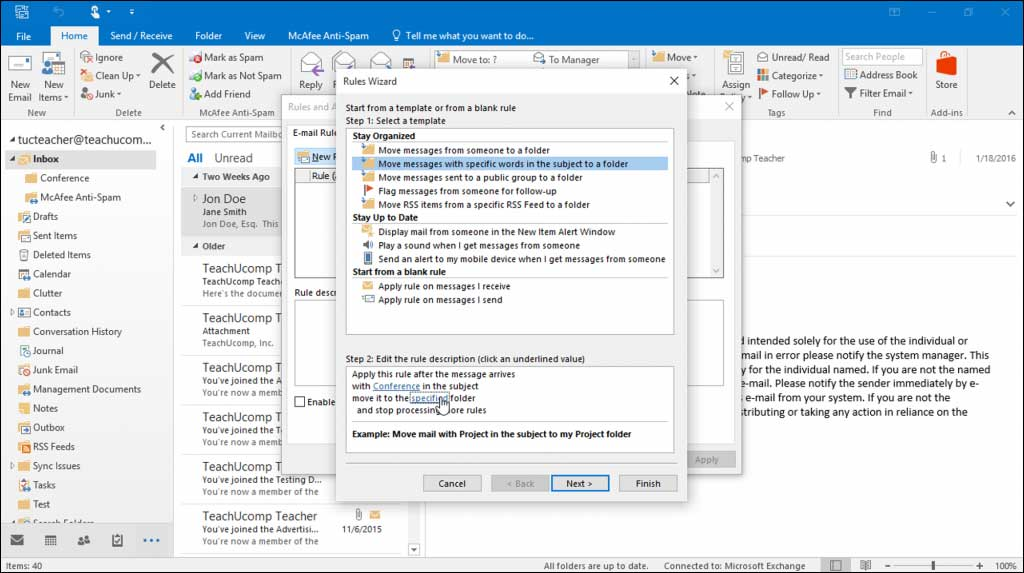 Create a Mailbox Rule in Outlook
