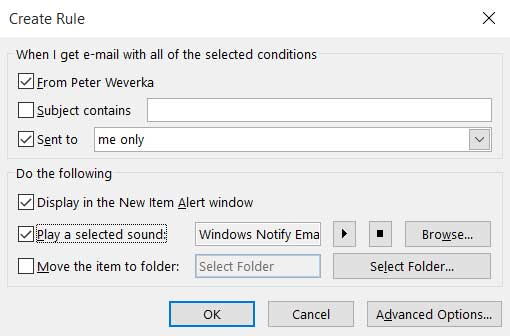set alarm for a particular subject incoming email in Outlook