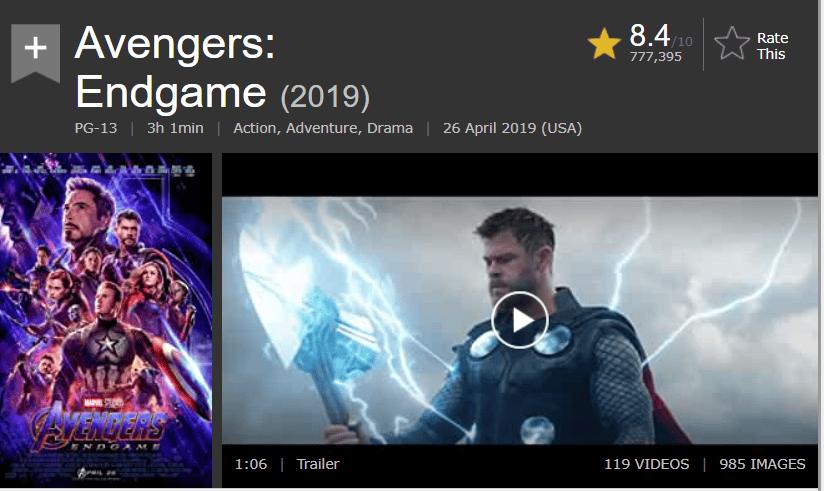 Rating of Avenger