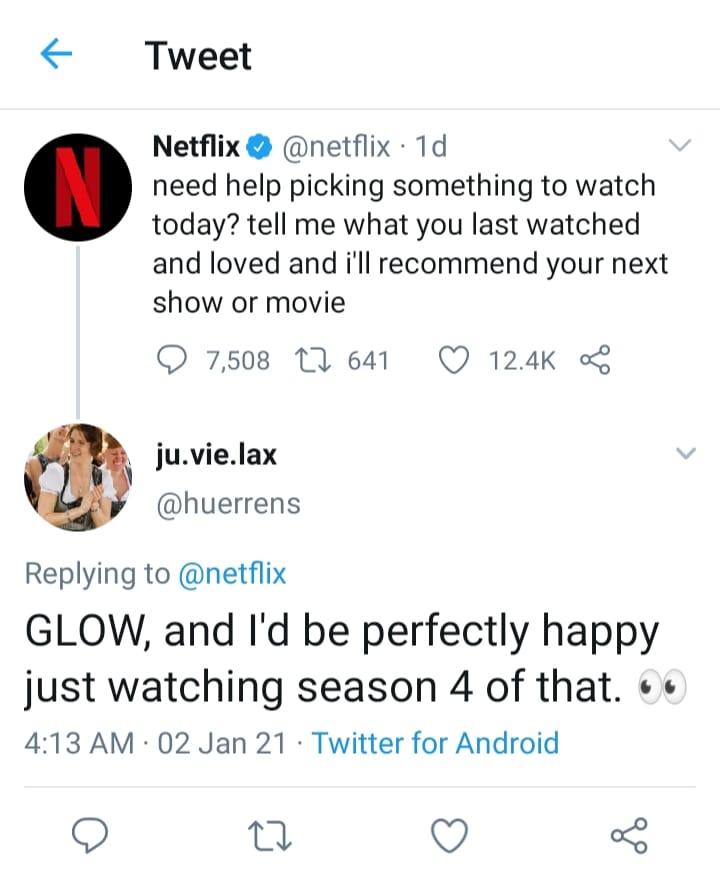 Tweet for season 4