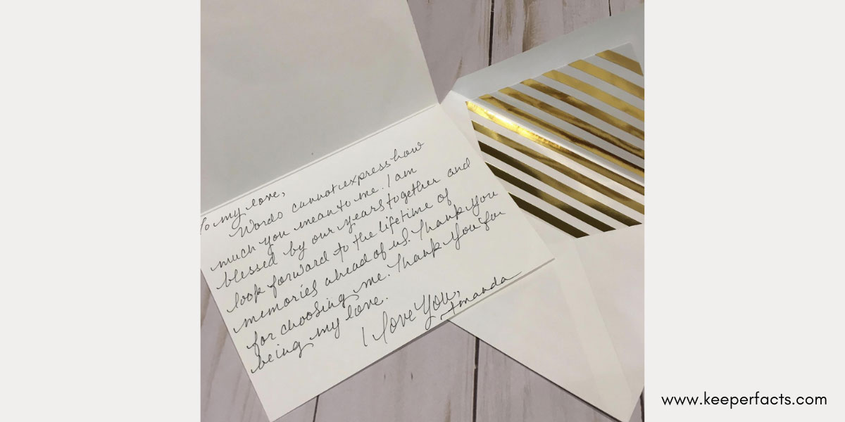 A handwritten note with Cards
