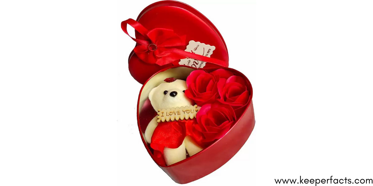 Cute Teddy with 3 Roses in Small Heart Shaped Box`