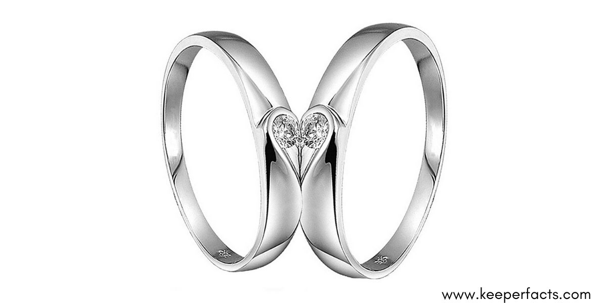 Peora Silver Plated 2 Pcs His and Her Heart Shape Matching