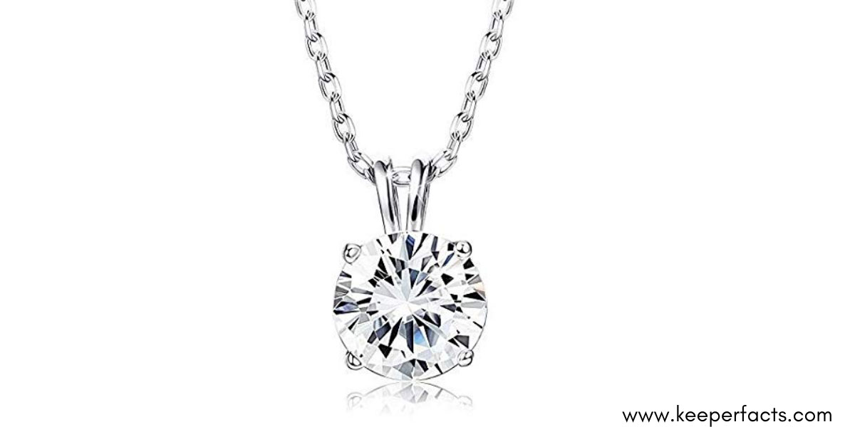 GIVA 925 Sterling Silver Classic Zircon Solitaire Pendant with Chain