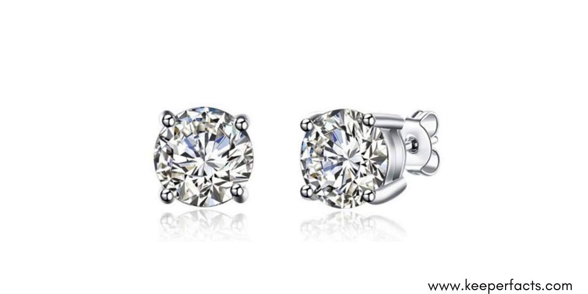 Silver Sterling Silver Zicon Stone Earrings For Women